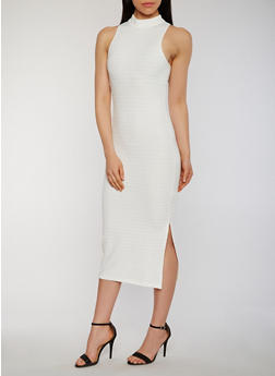 Mid Length Bandage Dress with Side Slit - IVORY - 0094038347993