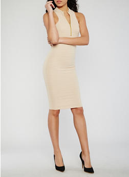 Sleeveless Half Zip Racerback Bandage Dress - 0094038347995