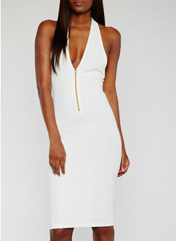 Halter Neck Bandage Dress with Front Mid Zip - IVORY - 0094038347996