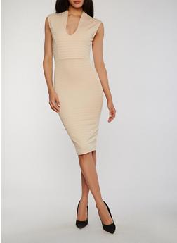 Cap Sleeve V Neck Bandage Dress - 0094038347997