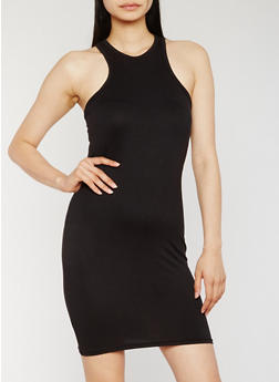 Solid Racerback Tank Dress - BLACK - 0094038348562
