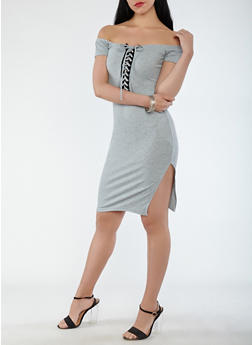 Lace Up Front Midi Dress - 0094038348722