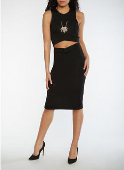 Sleeveless Crop Top and Skirt Set with Necklace - BLACK - 0094038348786