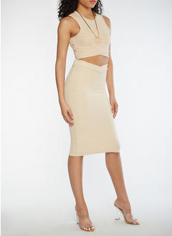 Sleeveless Crop Top and Skirt Set with Necklace - KHAKI - 0094038348786