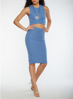 Sleeveless Crop Top and Skirt Set with Necklace - 0094038348786