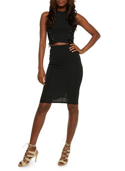 Lace Up Crop Top and Pencil Skirt Set - BLACK - 0094038348788