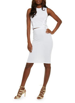 Lace Up Crop Top and Pencil Skirt Set - WHITE - 0094038348788
