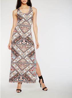 Printed Racerback Maxi Dress with Side Slits - 0094038348929