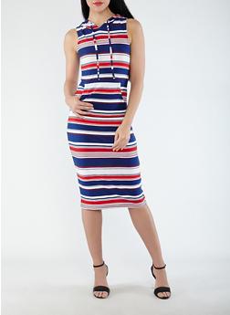 Striped Soft Knit Hooded Dress - 0094038348931