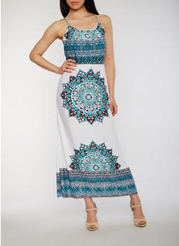 Printed Sleeveless Maxi Dress with Back Keyhole - 0094038349944