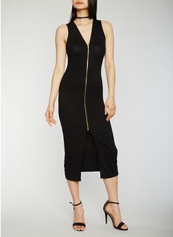 Sleeveless Zip Front Midi Dress - 0094051062925