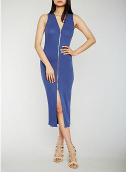 Sleeveless Zip Front Midi Dress - 0094051062925