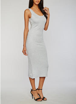 Soft Knit Mid Length Striped Tank Dress - 0094051062984
