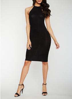Rib Knit Halter Neck Midi Dress - BLACK - 0094051062987