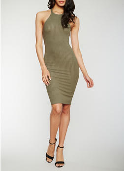 Rib Knit Halter Neck Midi Dress - OLIVE - 0094051062987