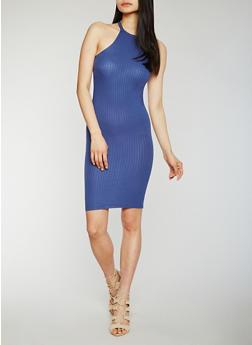 Rib Knit Halter Neck Midi Dress - 0094051062987