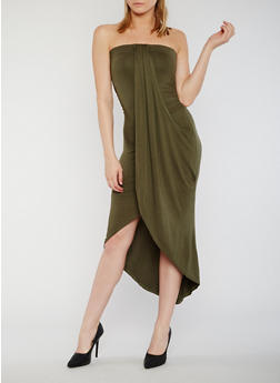 Tube Dress with Faux Wrap Overlay - OLIVE - 0094051062988