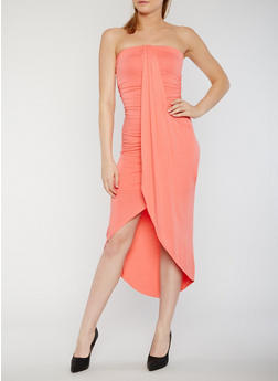 Tube Dress with Faux Wrap Overlay - 0094051062988