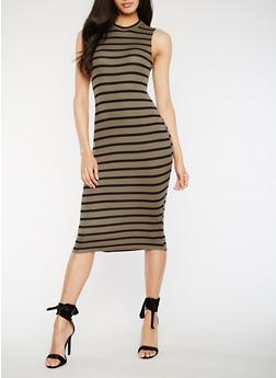 Striped Midi Tank Dress - 0094051063036