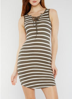 Striped Rib Knit Tank Dress with Lace Up Front - OLIVE - 0094051063052