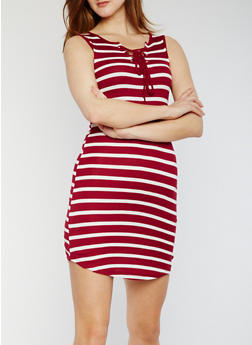 Striped Rib Knit Tank Dress with Lace Up Front - WINE - 0094051063052