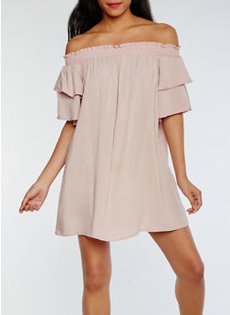 Tiered Sleeve Off the Shoulder Shift Dress - BLUSH - 0094051063058