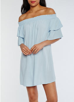 Tiered Sleeve Off the Shoulder Shift Dress - 0094051063058