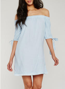 Off the Shoulder Dress with Frayed Hem - 0094051063100