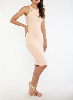 Ribbed Knit Keyhole Detail Dress - 0094051063564