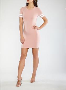 Varsity Stripe Sleeve T Shirt Dress - 0094054260490