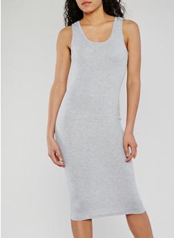 Midi Rib Knit Sleeveless Bodycon Dress - 0094054267277