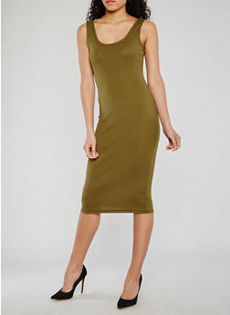 Midi Rib Knit Sleeveless Bodycon Dress - OLIVE - 0094054267277
