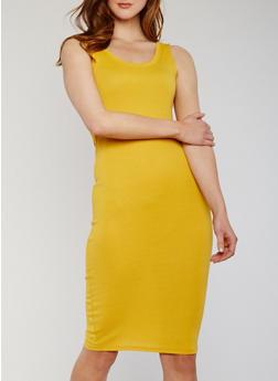 Midi Rib Knit Sleeveless Bodycon Dress - 0094054267277