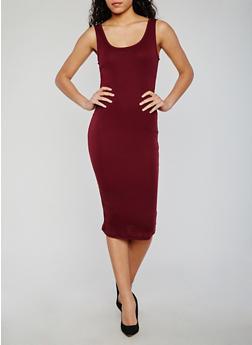 Midi Rib Knit Sleeveless Bodycon Dress - BURGUNDY - 0094054267277