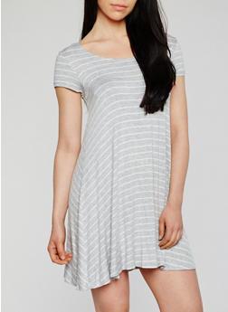 Short Sleeve Striped T Shirt Dress - 0094054268193