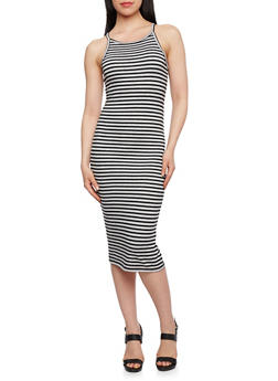 Striped Ribbed Midi Bodycon Dress - 0094054268409