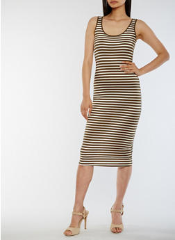 Striped Bodycon Tank Dress - 0094054269289