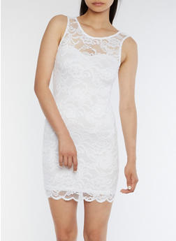 Sleeveless Lace Mini Dress - WHITE - 0094054269316