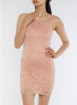 Sleeveless Lace Mini Dress - MAUVE - 0094054269316