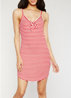 Striped Lace Up Cami Dress - 0094054269450