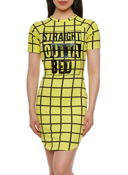 Printed Dress with Straight Outta Bed Print - 0094058751068