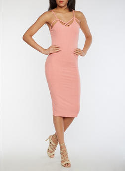 Caged Neck Rib Knit Bodycon Dress - DUSTY PINK - 0094058751126