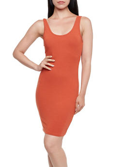 Jersey Bodycon Dress with Scoop Neck and Back - 0094058751142