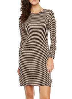 Striped Jersey Dress with Long Sleeves - 0094058751160