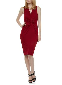 Textural Twist Front Dress with Neckline Detail - 0094058751387