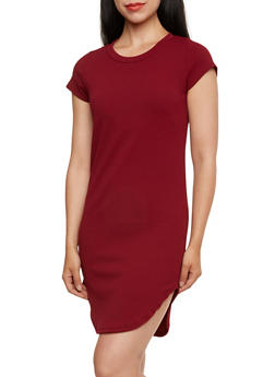 Solid Textured Knit Midi Dress - 0094058751433