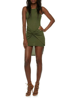 Rib-Knit Mini Dress with Gathered Waist Accent - 0094058751452