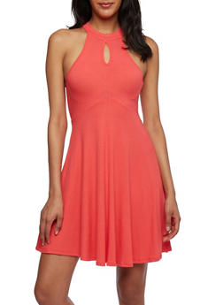 Solid Ribbed Dress with Keyhole Cutout - 0094058751453