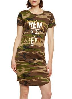 Camo Print T-Shirt Dress with Crème de la Crème Graphic - 0094058751536