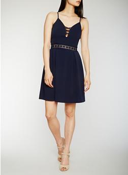 Sleeveless Caged Neck Skater Dress with Crochet Detail - 0094058751962